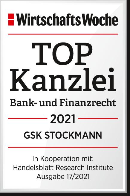 """WirtschaftsWoche Auszeichnung TOP Kanzlei in der Kategorie """"Bank- und Finanzrecht"""" 2021"""