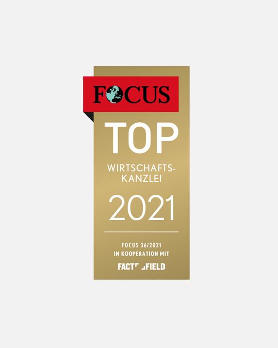 Auszeichnung FOCUS Top Wirtschaftskanzlei 2021
